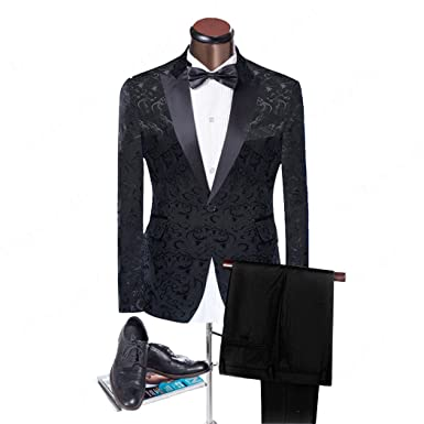 Maxudrs Black Jacquard Men Suits Peaked Lapel Slim Fit Wedding Suits