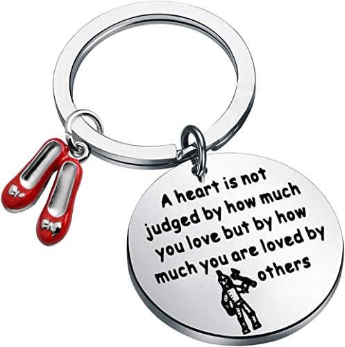 TGBJE Wizard of Oz Tinman Inspired Gift A Heart is Judged by How Much You are Loved by Others Keychian Ruby Slippers Keychain Tin Man Jewelry