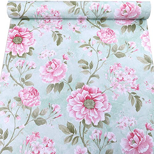 Birwall Vintage Fresh Red Peony Peel and Stick Prepasted Self-Adhesive Wallpaper Wall Sticker Wall Décor, MD01 ()