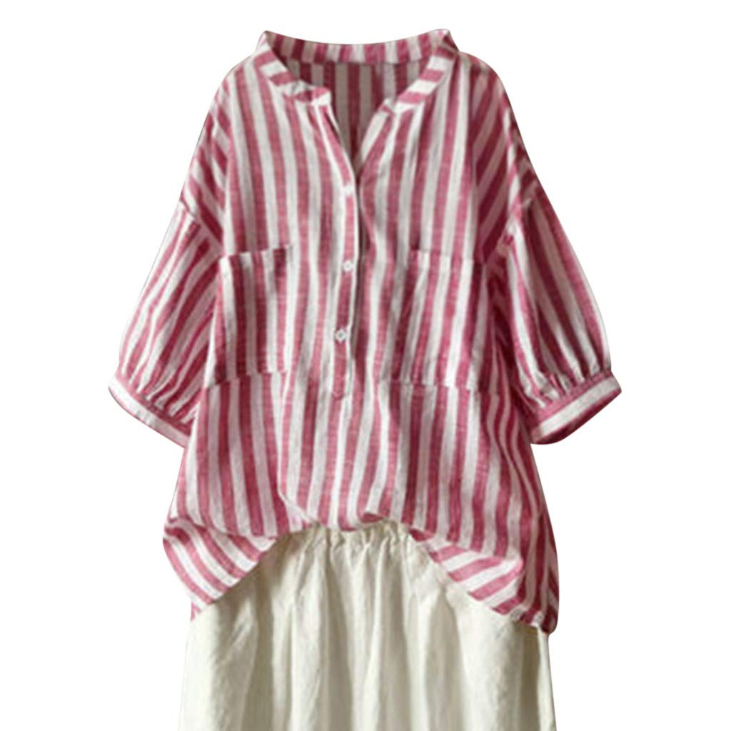 Women Casual Loose Short Sleeve Striped T Shirt Blouse Top Cotton Linen V Neck Middle Sleeves Red