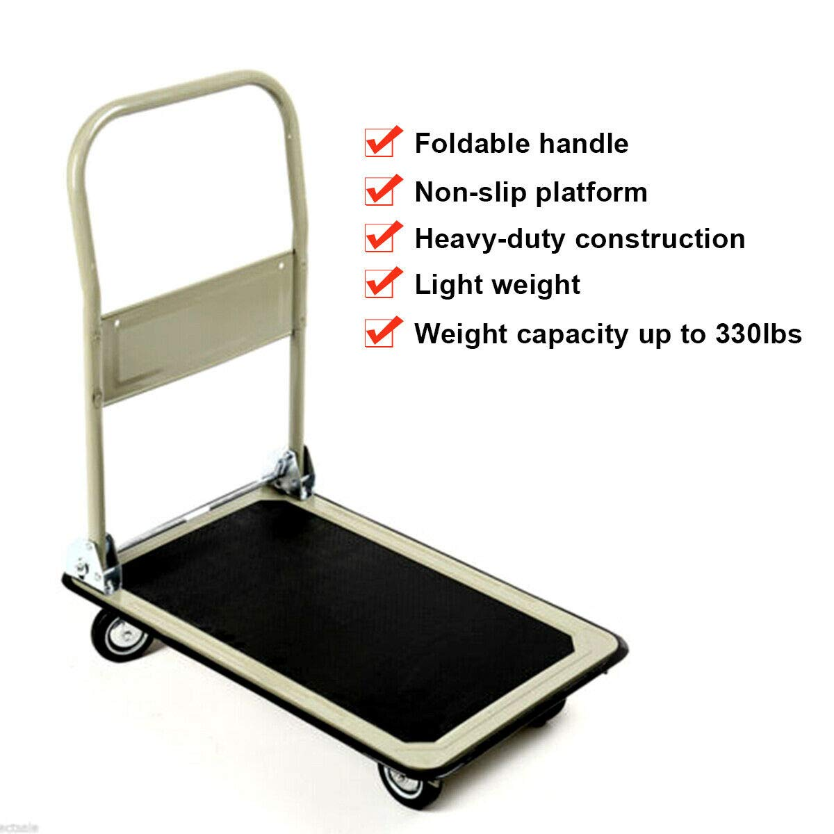 Gray 330lbs Platform Cart Folding Foldable Dolly Push Hand Truck Moving Warehouse Transport Heavy Large Loads(U.S. Stock) by Heize best price (Image #4)