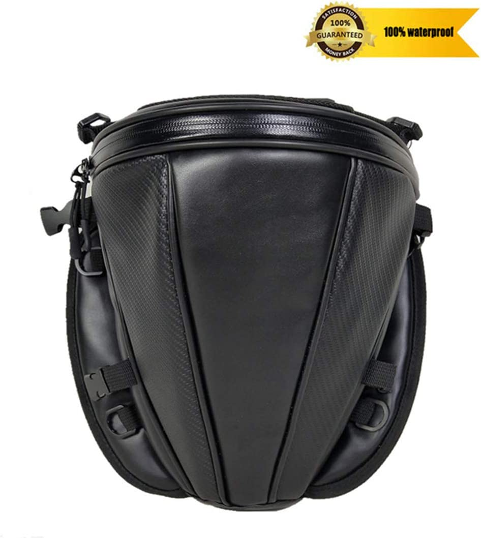 Meago Motorcycle Tail Bag Riding Tribe Motorcycle Seat Bag Waterproof PU Leather Luggage Carry Bag Tool Storage Bag for Honda Yamaha Suzuki Kawasaki Harley, 4 Liter, Black Waterproof Tail Bag