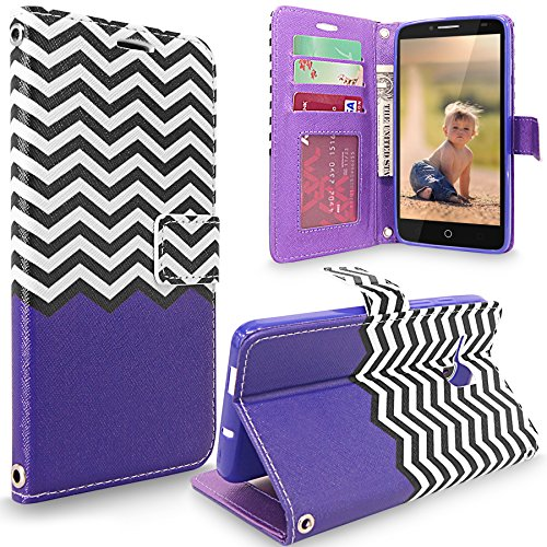 One Touch Fierce XL Case, Cellularvilla [Stand Feature] Zig Zag Design [Slim Fit] Premium Leather Wallet Case [Card Holder] Protective Flip Cover for Alcatel One Touch Fierce XL (Purple Chevron) (One Touch Phone Case Chevron)