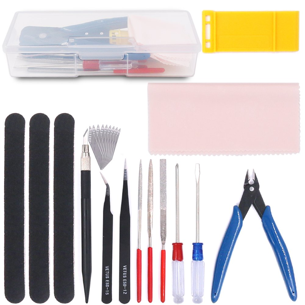 Rustark 15Pcs Gundam Modeler Basic Tools Craft Set Model Tools Kit for Professional Hobby Model Assemble Building