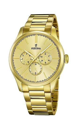 Festina - Reloj de cuarzo para hombre, correa de acero inoxidable chapado color dorado: Amazon.es: Relojes