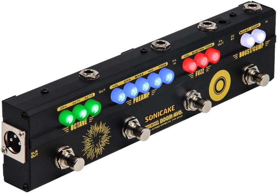 SONICAKE Pedal de Bajo BOOM Ave. Preamp DI Box Multiefectos Compresor Boost Fuzz Octave Pedal con FX Loop