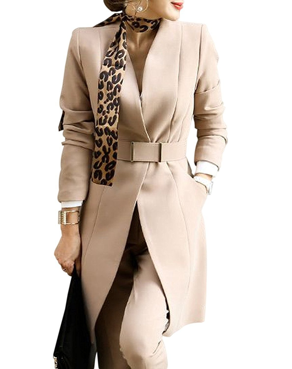 BCSY Women's Three Piece Mid Long Office Lady Blazer Business Suit Set