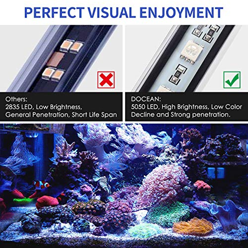 DOCEAN 63 LEDs Aquarium Light, 42.51inch/108cm Fish Tank Light, Blue with White Color - Submersible - Premium Acrylic Aquarium Lamp for Big Fish Tanks, AC100-240V/DC12V, 2A -11.8W & 880 Lumens