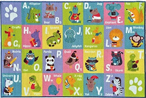 KC CUBS Kev & Cooper Playtime Collection ABC Alphabet Animal Educational Area Rug - 50 x 66