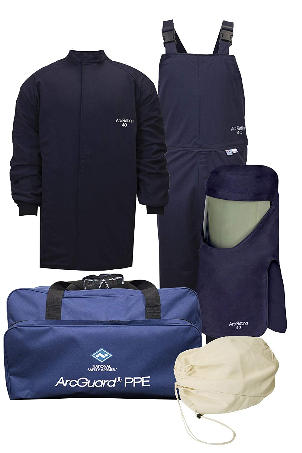 National Safety Apparel KIT4SC40NG3X ArcGuard HRC 4 Arc Flash Kit with 40 cal/sq cm Ultra Soft Short Coat and Bib Overall, 3X-Large, Navy