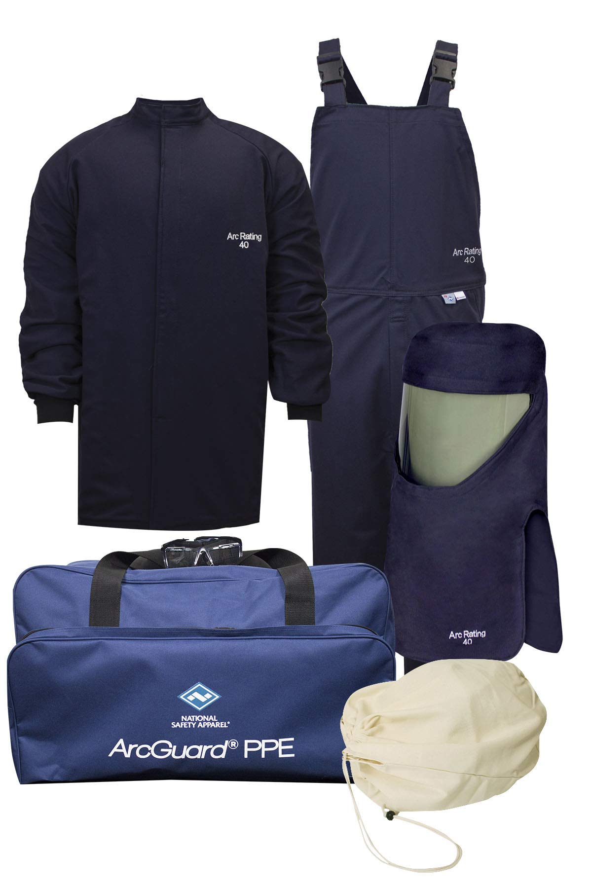 National Safety Apparel KIT4SC40NGLG ArcGuard HRC 4 Arc Flash Kit with 40 Cal/sq cm Ultra Soft Short Coat and Bib Overall, Large, Navy