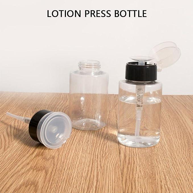 Pawaca - 2 botellas de líquido recargables con bomba de 160 ml, botella de plástico vacía para limpiador, tóner, removedor de esmalte, desmaquillante y ...
