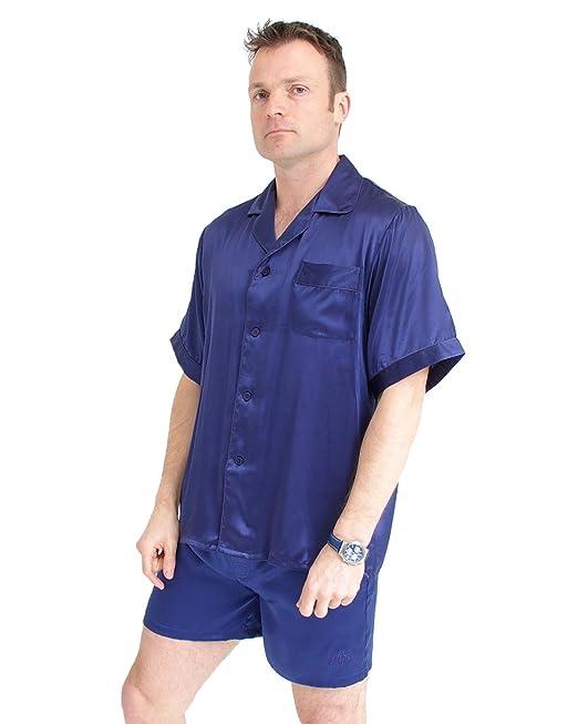 The House of Silk Pijama de seda clásico corto - Tamaño: Grande - Color azul
