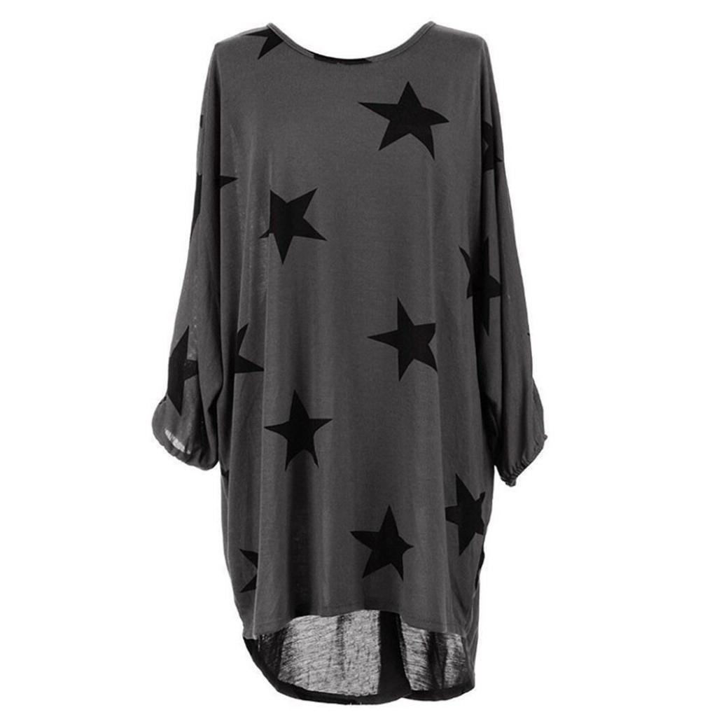 Women Dress, Familizo Women Plus Size Batwing Sleeve Stars Print Baggy Dress