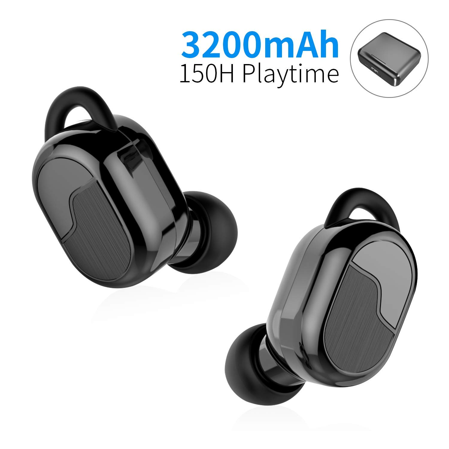 Wireless Earbuds,Latest Bluetooth 5.0 True Wireless Bluetooth Earbuds with Charging Case 3200mAh TWS Sport in-Ear 150H Playtime Stereo Headphone Auto Pairing Built-in Mic CVC 8.0 Deep Bass Headset