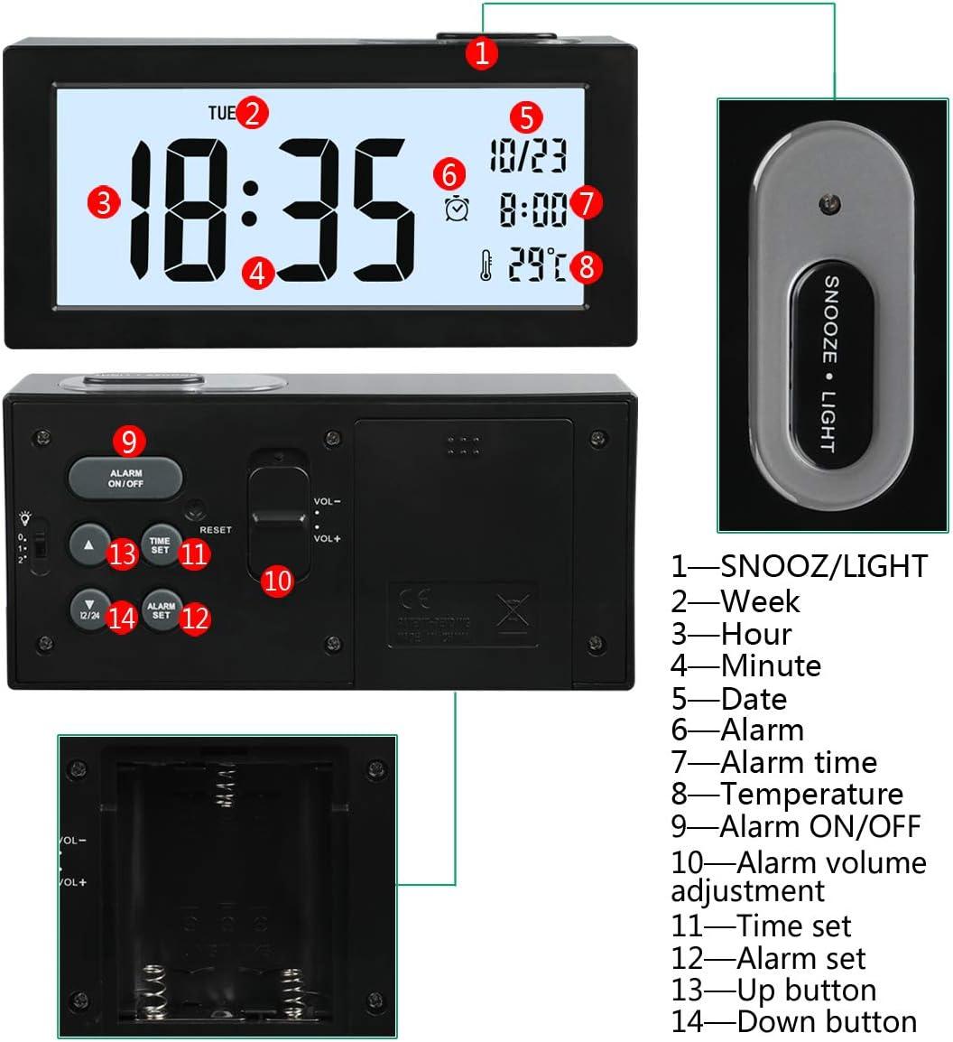 Temp/érature R/éveil Digital Alarme Num/érique Version Electronique Alarm Clock LCD avec Snooze Affichage de la Date R/étro-/éclairage Lumi/ère de Nuit