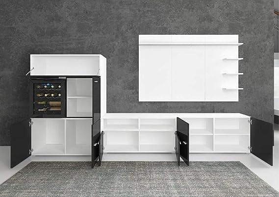 SelectionHome - Mueble salón comedor con vinoteca, acabado Blanco Mate y Negro Brillo Lacado, medidas: 295 x 57/40 x 175 cm de altura
