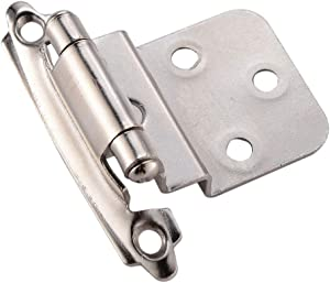"""Face Mount Variable 3/8"""" Inset Cabinet Door Hinges, Self Closing Semi-Concealed Satin Nickel Hinge for Kitchen Cabinets, 50 PCS"""