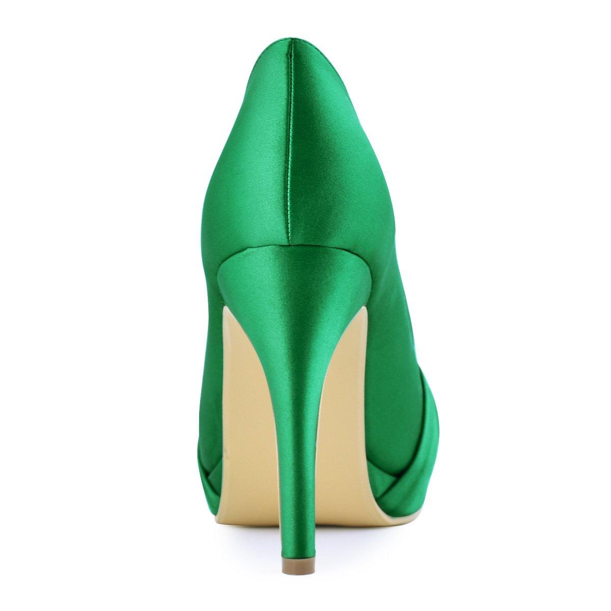 ElegnatPark EP2015-PF Women Satin Platform Flower Buckle Rhinestones Closed Toe High Heel Wedding Bridal Shoes