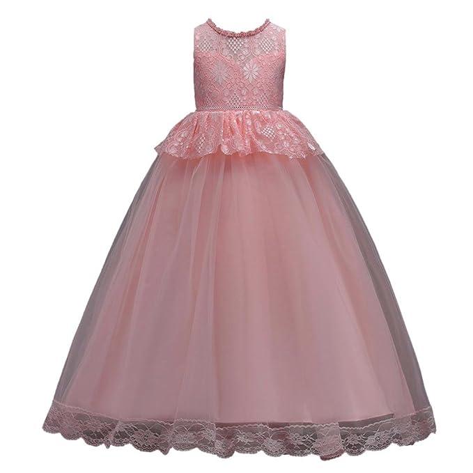 mirada detallada 08081 405fb Vestido de niñas,❤️ Manadlian Vestido Elegante de Princesa Niña Traje de  Ceremonia Vestido Largo Fiesta con Lentejuelas Brillantes
