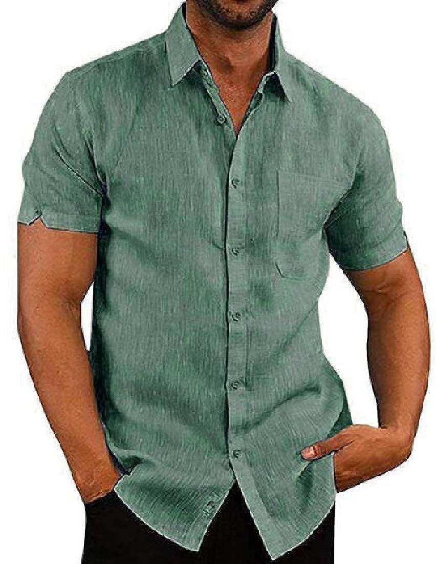 Zantt Mens Shirts Summer Pocket Solid Cotton Linen Short Sleeve Shirts
