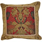 Austin Horn Classics Verona 20-Inch Fancy Square Pillow, Red
