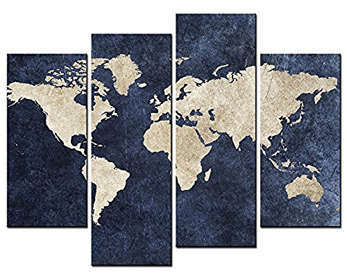 Forever Framed Panel Print - Forever With Me 4 panel Blue Map Flag Painting A World Map With Mazarine Background Picture Print On Canvas Stretched By Wooden frame For Home Modern Decoration As A Gift