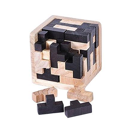 Amazon.com: 3D Wooden Brain Teaser 54 T-shaped Tetris Blocks ...