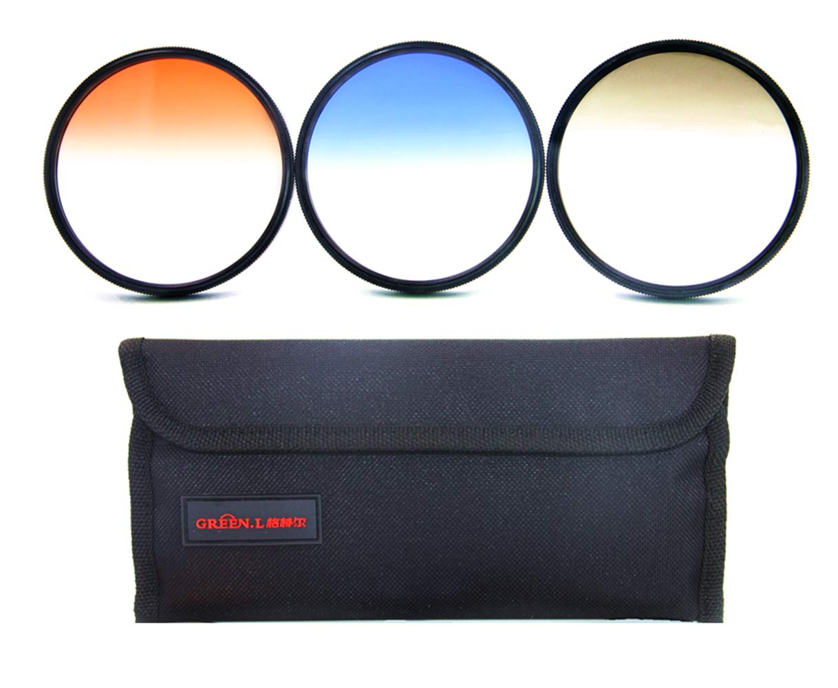 GREEN.L 77mm Color Graduated Neutral Density(ND4) Orange Blue Filter Slim Adjustable Filter Set for Digital Camera with Filter Pouch by Green-L