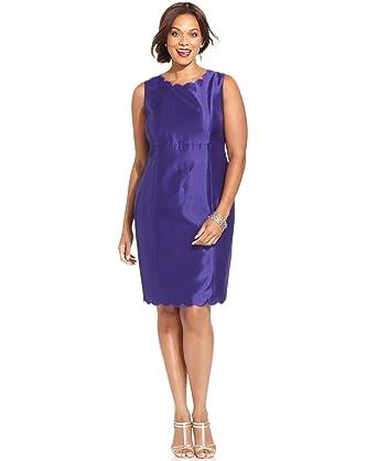 d3130a5d1e0e Image Unavailable. Image not available for. Color: Kasper Plus Size  Shantung Scalloped-Trim Sheath Dress ...