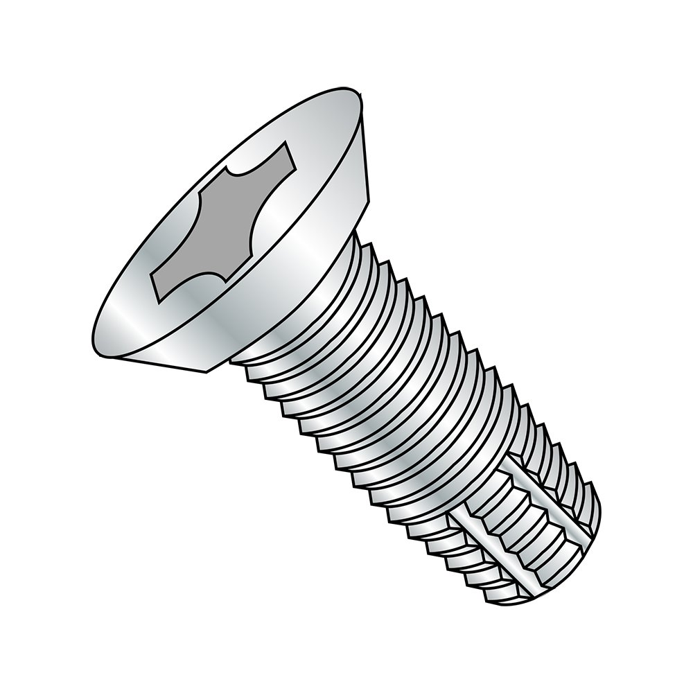 Steel Thread Cutting Screw, Zinc Plated, 82 Degree Flat Undercut Head, Phillips Drive, Type F, #10-24 Thread Size, 3/8 Length (Pack of 100) by Small Parts B00GX0KF38