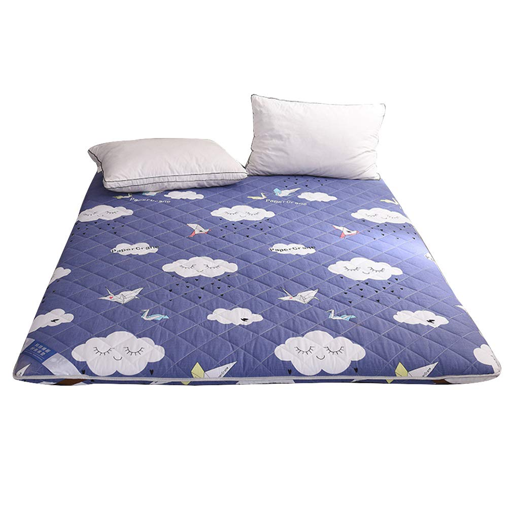 D 150x200cm Thicken Folding Tatami Floor Mattress, Double-Sided Quilted Futon Mattresses Dormitory Bedroom Cartoon Printed Bed Mattress - A 180x200 cm (71x78 Inch),A,180x200cm