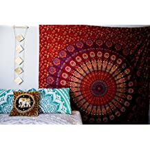 Ganesham Indian Handmade Hippie Peacock Feather Dorm Tapestry, Wall Hanging, Picnic sheet, Yoga mat, Bohemian, Double spread, Mandala Queen Tapestry