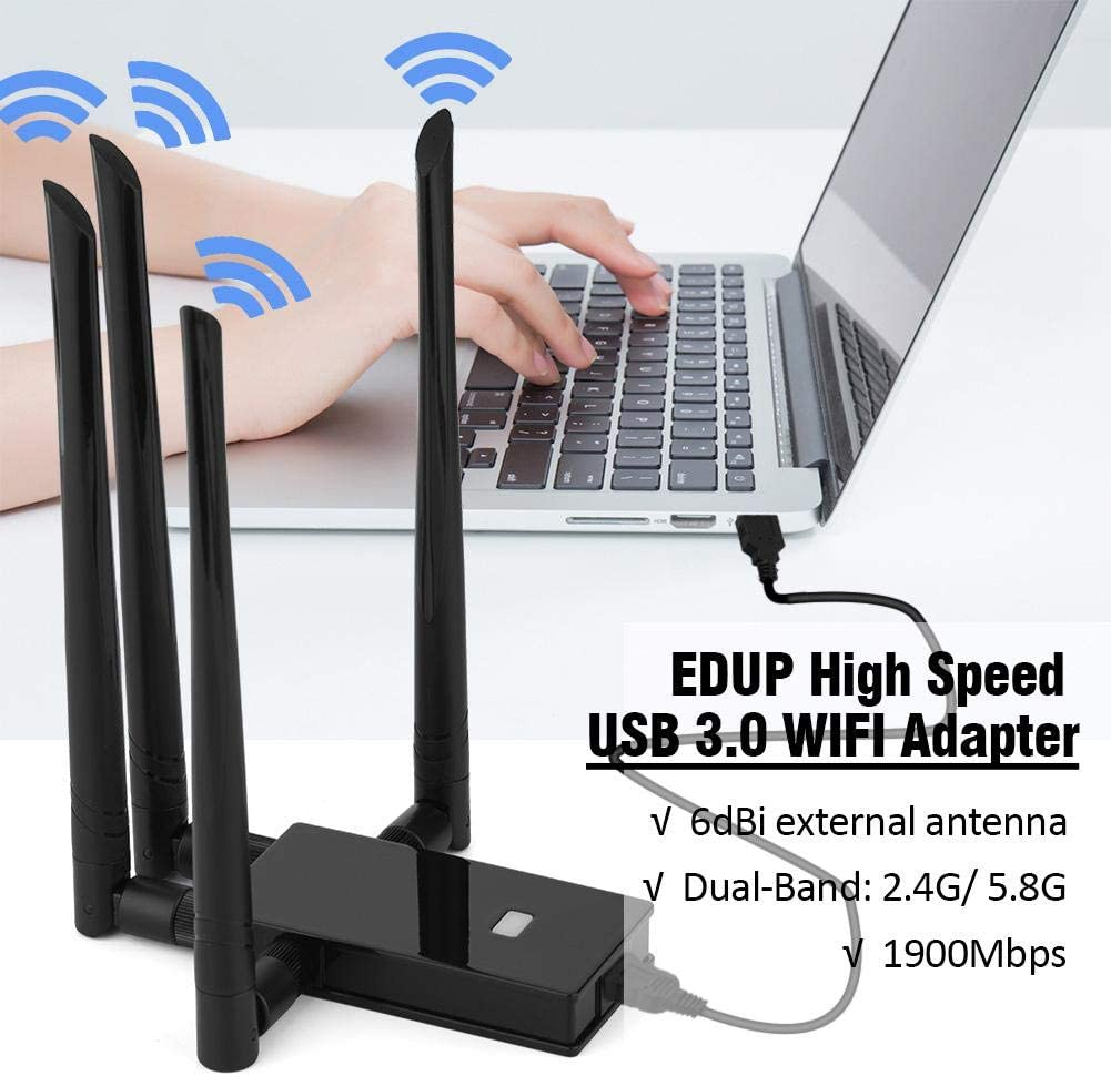 Portable USB 3.0 WiFi Adapter USB WiFi Adapter with 4 Powerful 6dbi Antennas for PC Desktop Laptops 1900Mbps Dual-Band USB3.0 Fast WiFi Wireless Adapter