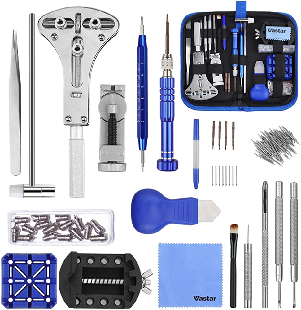 Vastar 177pcs Kit de Reparación de Relojes - Herramientas de Reparación Profesionales para Reloj, Más Completas y Profesionales, con Abridor de Repara Pulsera de Reloj 52mm, Instrucción etc.