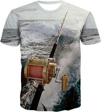 KYKU Fishing Rod Tshirts for Men Funny 3D Printed Waves Sea Fishaholic T Shirt