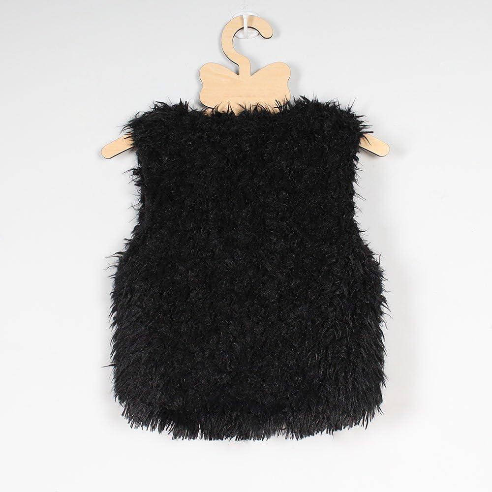 TLoowy Girls Vest Kids Toddler Girl Sleeveless Faux Fur Coat Jacket Warm Outwear Winter Clothes