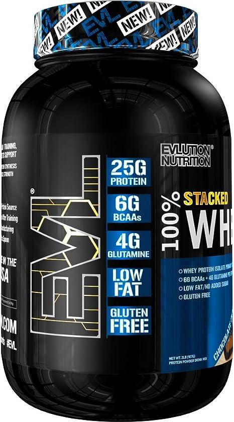 Evlution Nutrition 100% Whey, 25g de Proteína de Whey, 6g de BCAA, 5g de Glutamina, Libre de Gluten, 908 g (Crema de Maní con Chocolate)