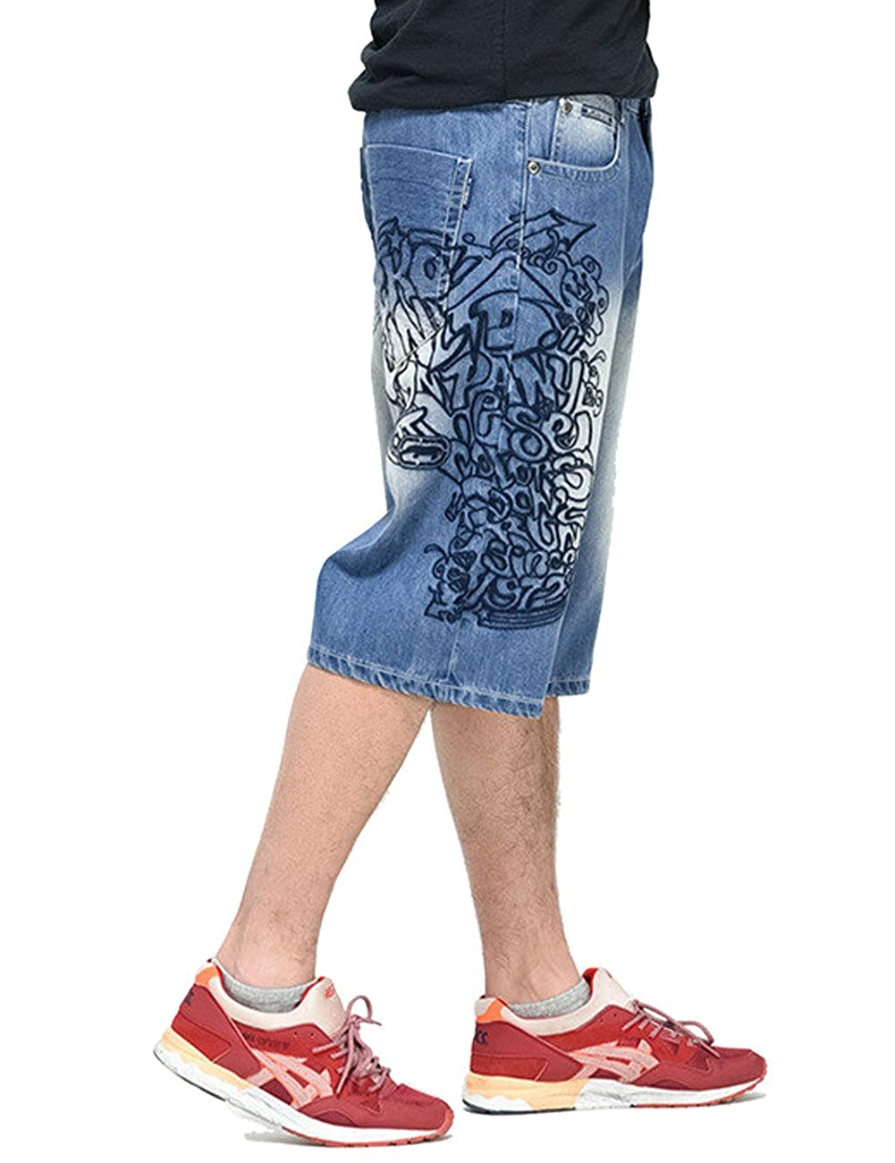 QBO Men's Hip Hop Jeans Embroidery Baggy Denim Shorts