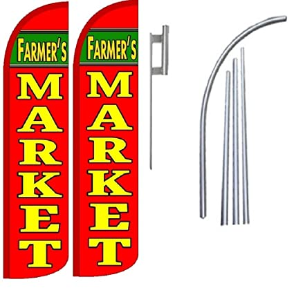 Haircuts King Windless Swooper Flag Sign Kit With Pole and Ground Spike Pack of 2