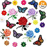 #2: Maxdot 24 Pieces Embroidery Applique Patches Sunflowers Butterfly Rose Flowers Iron on Patches for Jeans, Jackets, Clothing, Scrapbooking Art Craft