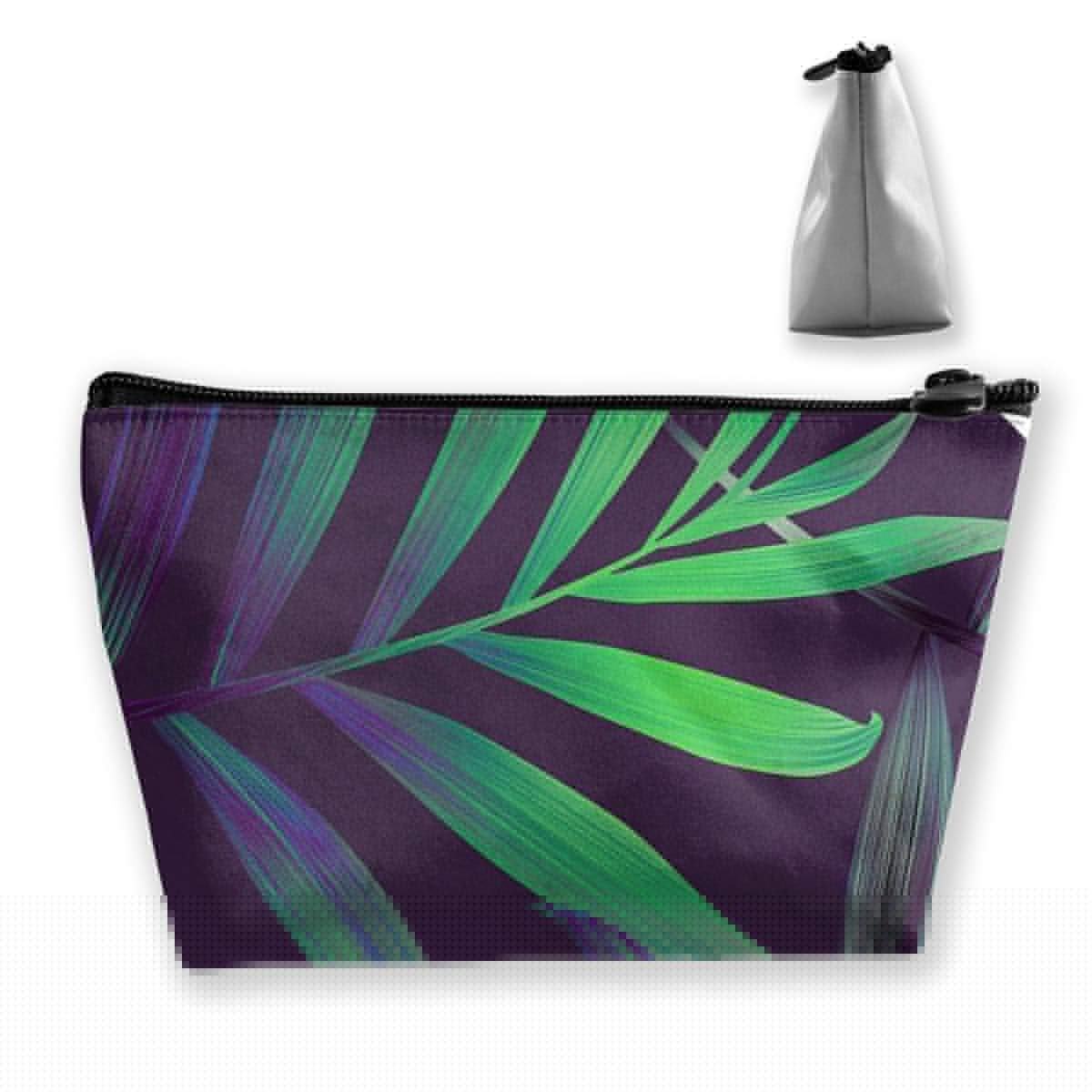 Trapezoid Toiletry Pouch Portable Travel Bag Leaf Pattern Zipper Wallet