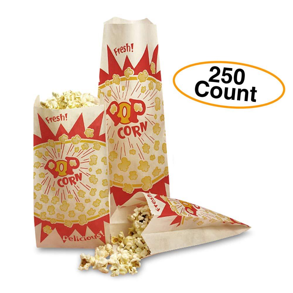 """Medium Popcorn Bags (250 Count) Paper 4"""" x 2.5"""" x 8.25"""" Vintage Classic Design"""