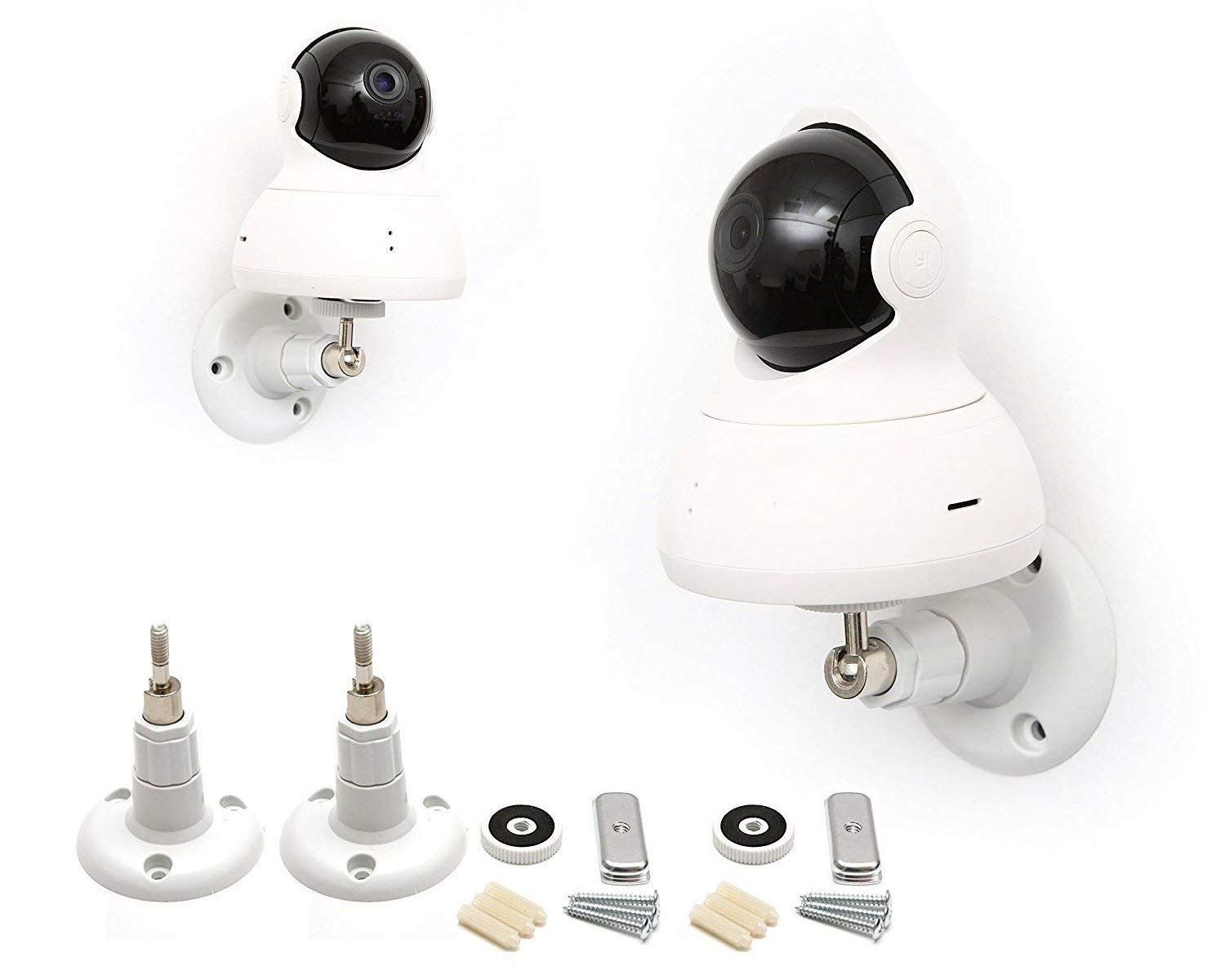 2 Pack Set Yi Dome Camera Articulating Mount Wall Mount Bracket Full Install kit (White) by Fstop Labs