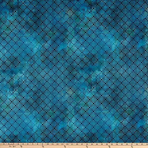In The Beginning Fabrics In The Beginning s Diaphanous By Jason Yenter Trellis Turquoise, Fabric by the ()