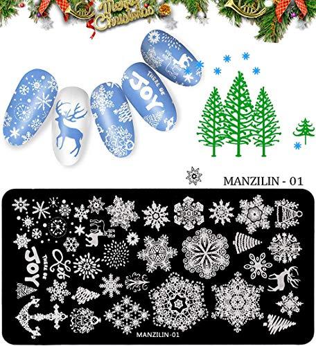 DR.Mode Nail Stamping Plates - 5pcs Christmas Santa Snowflake Reindeer Tree Bell Nail Art Stamp Plates Kits DIY Manicure Image Template Stencils