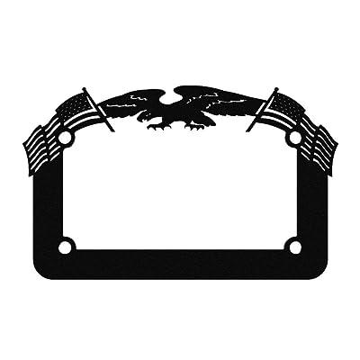 Ferreus Industries Black Powdercoat Motorcycle License Plate Frame Eagle American Flag Eagle - 1 Piece LIC-119-Black: Automotive