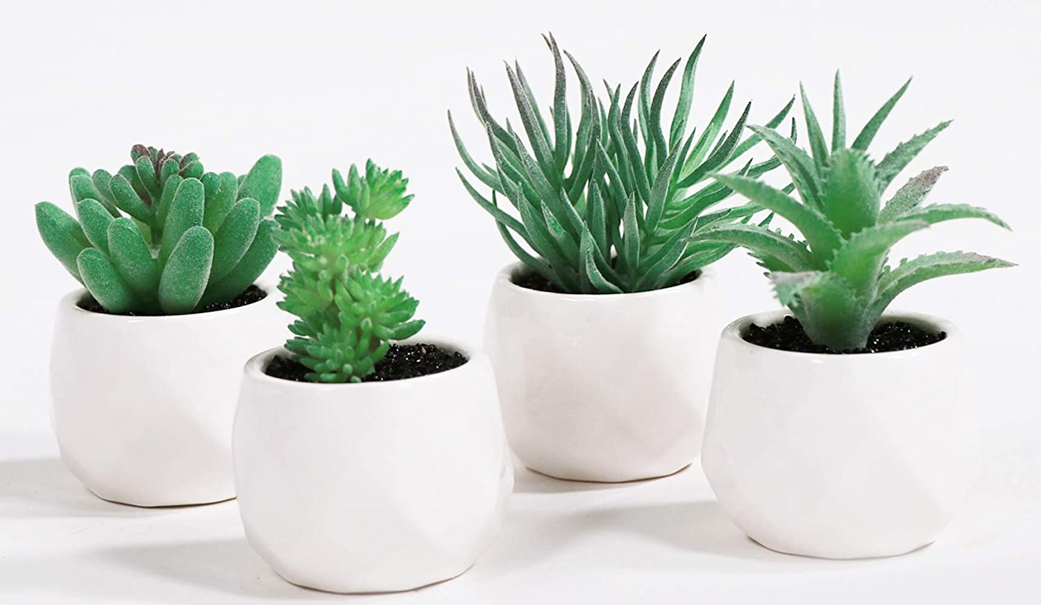 LITA Artificial Succulent Plants Fake Succulents Small Plants in White Ceramic Potted for Indoor Decor Office Room Desk Decoration4 Pots (Green -1)