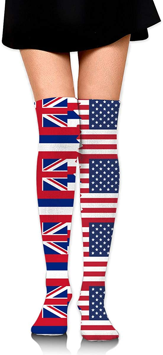 Hawaii State USA Flag Over The Knee High Boot Stockings Cotton Thigh High Compression Socks