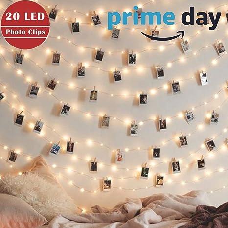 20 LED Photo Clip String Lights, Battery Powered String Lights Lamp ...